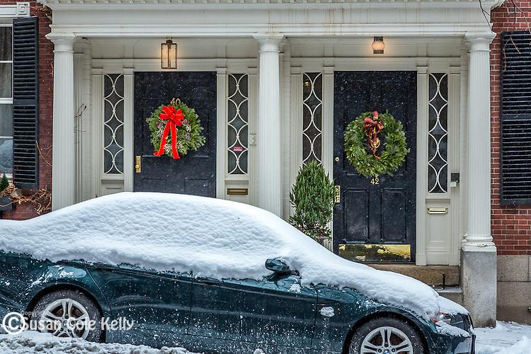 December snow on Beacon Hill, Boston, Massachusetts, USA