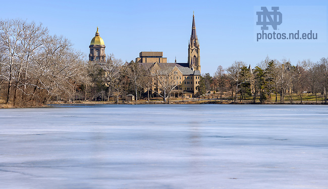 March 5, 2021; Frozen St. Mary's Lake in late winter. (Photo by Matt Cashore/University of Notre Dame)