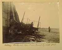 BNPS.co.uk (01202) 558833<br /> Pic: Charles Miller/BNPS<br /> <br /> Taprell Dorling's picture of a derailed train<br /> <br /> A fascinating photo album compiled by a British naval officer on tour in the Far East at the turn of the 20th century has come to light.<br /> <br /> Taprell Dorling served on the HMS Terrible in 1900 at the start of an over 30 year career at sea.<br /> <br /> The album, containing 74 photos, has emerged for sale with auctioneers Charles Miller, of London, with an estimate of £3,000.