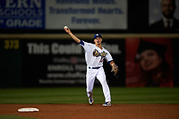 Rancho Cucamonga Quakes shortstop Gavin Lux (14) makes a throw to first base during a California League game against the Lake Elsinore Storm at LoanMart Field on May 19, 2018 in Rancho Cucamonga, California. Lake Elsinore defeated Rancho Cucamonga 10-7. (Zachary Lucy/Four Seam Images)