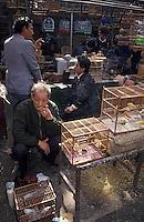 Asie/Chine/Jiangsu/Nankin: Quartier du temple de Confucius: Marché aux oiseaux et aux poissons - Marchand de canaris<br /> PHOTO D'ARCHIVES // ARCHIVAL IMAGES<br /> CHINE 1990