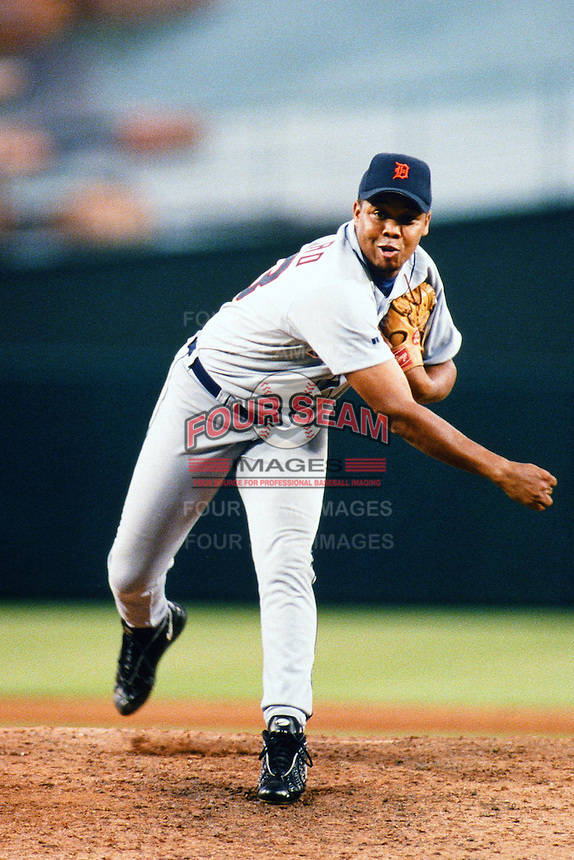 Francisco Cordero of the Detroit Tigers during a game against the Anaheim Angels at Angel Stadium circa 1999 in Anaheim, California. (Larry Goren/Four Seam Images)