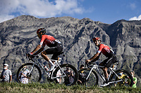 Dayer Quintana (COL/Arkea Samsic) and Diego Rosa (ITA/Arkea Samsic)<br /> <br /> 107th Tour de France 2020 (2.UWT)<br /> (the 'postponed edition' held in september)<br /> Stage 4 from Sisteron to Orcières-Merlette 160,5km<br /> ©kramon