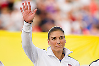 Goalkeeper Hope Solo (1) of the United States (USA) is introduced prior to playing China PR (CHN). The United States (USA) women defeated China PR (CHN) 4-1 during an international friendly at PPL Park in Chester, PA, on May 27, 2012.