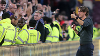 Brentford Manager, Thomas Frank, interacts with the home fans at the final whistle during Brentford vs Liverpool, Premier League Football at the Brentford Community Stadium on 25th September 2021
