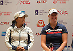 Ko Jin Young (left) and Nicole Broch Larsen attend the press conference at the beginning of World Ladies Championship 2016 on 09 March 2016 at Mission Hills Olazabal Golf Course in Dongguan, China. Photo by Victor Fraile / Power Sport Images