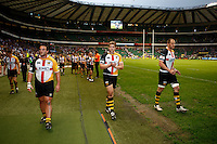 Photo: Richard Lane/Richard Lane Photography. London Wasps v Bath Rugby. Aviva Premiership. St George's Day  Game. 23/04/2011. Wasps players applaud the supporters.