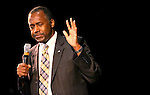 Republican Presidential candidate Ben Carson speaks to a crowd of about 400 at the Community Center in Carson City, Nev., on Wednesday, Dec. 16, 2015. <br />