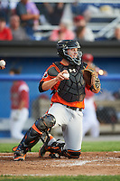 Aberdeen IronBirds catcher Jerry McClanahan (19) during a game against the Batavia Muckdogs on July 15, 2016 at Dwyer Stadium in Batavia, New York.  Aberdeen defeated Batavia 4-2.  (Mike Janes/Four Seam Images)