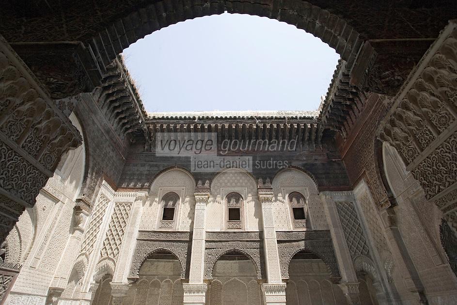 Afrique/Afrique du Nord/Maroc/Fèz: Cour Intérieure d'une Médersa El-Attarine Ecole Coranique