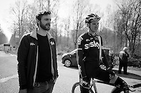 Luke Row (GBR/SKY) & DS Servais Knaven at the end of the Bois de Wallers-Arenberg sector<br /> <br /> 2015 Paris-Roubaix recon with Team SKY