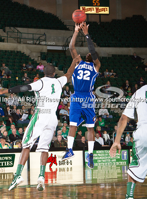 New Orleans Privateers forward Lovell Cook (32) in action during the game between the New Orleans Privateers and the University of North Texas Mean Green at the North Texas Coliseum,the Super Pit, in Denton, Texas. UNT defeated UNO 78 to 47.....