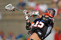 23 August 2008: Denver Outlaws' Midfielder Jeff Sonke (15) scores the Outlaws' 11th goal in the 4th quarter against the Los Angeles Riptide during the Semi-Finals of the Major League Lacrosse Championship Weekend at Harvard Stadium in Boston, MA. The Outlaws edged out the Riptide 13-12, advancing to the upcoming Championship Game.. .Mandatory Photo Credit: Ed Wolfstein Photo