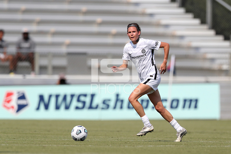 CARY, NC - SEPTEMBER 12: Emily Menges #5 of the Portland Thorns FC runs with the ball during a game between Portland Thorns FC and North Carolina Courage at Sahlen's Stadium at WakeMed Soccer Park on September 12, 2021 in Cary, North Carolina.