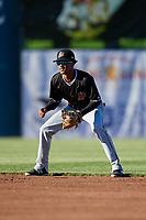 Batavia Muckdogs second baseman Gerardo Nunez (1) during a game against the Auburn Doubledays on June 15, 2018 at Falcon Park in Auburn, New York.  Auburn defeated Batavia 5-1.  (Mike Janes/Four Seam Images)