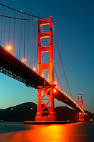 The Golden Gate Bridge from Fort Point in the evening, Presidio, San Francisco, California