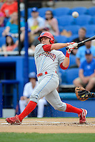 Clearwater Threshers second baseman Carlos Alonso #8 hits a foul ball during a game against the Dunedin Blue Jays at Florida Auto Exchange Stadium on April 4, 2013 in Dunedin, Florida.  Dunedin defeated Clearwater 4-2.  (Mike Janes/Four Seam Images)