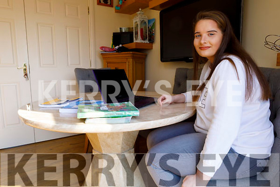 Katelyn Cusack from Listowel, a student of Coláiste Na Ríochta doing remote learning for her leaving cert exams.