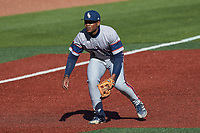 Florida Atlantic Owls third baseman B.J. Murray (9) on defense against the Charlotte 49ers at Hayes Stadium on April 2, 2021 in Charlotte, North Carolina. The 49ers defeated the Owls 9-5. (Brian Westerholt/Four Seam Images)