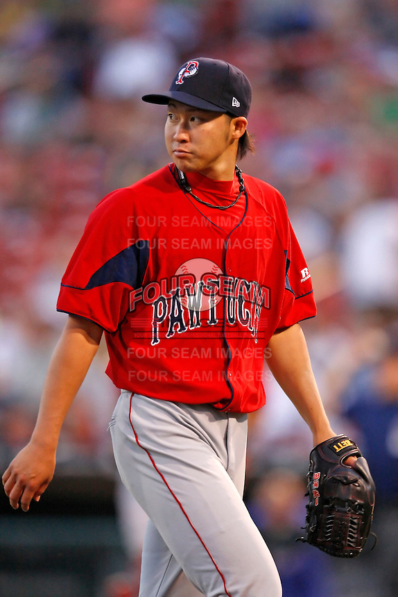 """July 28, 2009:  Starting Pitcher Junichi Tazawa of the Pawtucket Red Sox looks to the scoreboard after his last inning during a game at Coca-Cola Field in Buffalo, NY.  Tazawa was signed out of Japan and making his """"AAA"""" debut with Pawtucket, the International League Triple-A affiliate of the Boston Red Sox.  Photo By Mike Janes/Four Seam Images"""