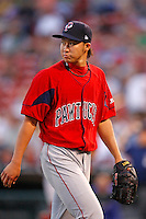 "July 28, 2009:  Starting Pitcher Junichi Tazawa of the Pawtucket Red Sox looks to the scoreboard after his last inning during a game at Coca-Cola Field in Buffalo, NY.  Tazawa was signed out of Japan and making his ""AAA"" debut with Pawtucket, the International League Triple-A affiliate of the Boston Red Sox.  Photo By Mike Janes/Four Seam Images"