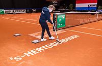 Den Bosch, The Netherlands, April 17, 2021,    Maaspoort, Billie Jean King Cup  Netherlands -  China ,<br /> Photo: Tennisimages/Henk Koster
