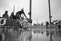 Fumy Beppu (JAP/Trek Factory Racing) on his way to the start podium (in the soaking rain)<br /> <br /> Giro d'Italia 2014<br /> stage 2: Belfast-Belfast <br /> 219km