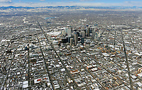 Denver skyline aerial in winter looking north west. Feb 2013. 82240