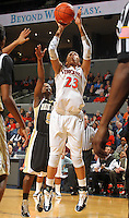 Feb. 3, 2011; Charlottesville, VA, USA; Virginia Cavaliers guard Ataira Franklin (23) shoots in front of Wake Forest Demon Deacons guard Chelsea Douglas (5) during the game at the John Paul Jones Arena. Virginia won 73-46. Mandatory Credit: Andrew Shurtleff