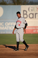 Norberto Obeso (10) of the Vancouver Canadians during a game against the Salem-Keizer Volcanoes at Volcanoes Stadium on July 24, 2017 in Keizer, Oregon. Salem-Keizer defeated Vancouver, 4-3. (Larry Goren/Four Seam Images)
