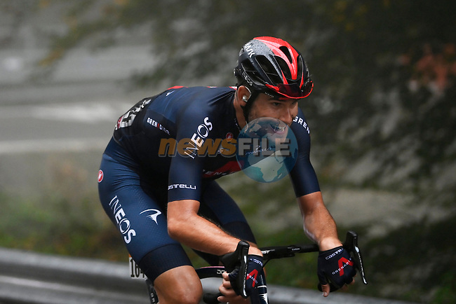 Filippo Ganna (ITA) Ineos Grenadiers out front on the category 1 Valico Montescuro from the breakaway during Stage 5 of the 103rd edition of the Giro d'Italia 2020 running 225km from Mileto to Camigliatello Silano, Sicily, Italy. 7th October 2020.  <br /> Picture: LaPresse/Fabio Ferrari   Cyclefile<br /> <br /> All photos usage must carry mandatory copyright credit (© Cyclefile   LaPresse/Fabio Ferrari)