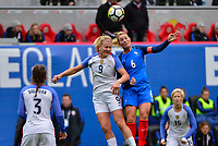 Harrison, N.J. - Sunday March 04, 2018: Lindsey Horan, Amanine Henry during a 2018 SheBelieves Cup match between the women's national teams of the United States (USA) and France (FRA) at Red Bull Arena.