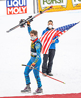 29th December 2020; Stelvio, Bormio, Italy; FIS World Cup Super G for Men;  winner Ryan Cochran Siegle of the USA during the winners ceremony for the men Super G race