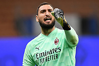 Gianluigi Donnarumma of AC Milan celebrates the victory at the end of the Serie A football match between FC Internazionale and AC Milan at stadio San Siro in Milano (Italy), October 17th, 2020. Photo Image Sport / Insidefoto