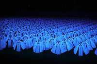 Hundreds of dancers perform in the Arirang Mass Gymnastics in Pyongyang, North Korea (DPRK) on 15 August 2007. 100,000 performers participate in the Mass Gymnastics, the largest propaganda spectacle in the world