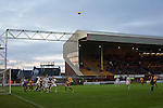 Motherwell 3 Dundee 1, 12/12/2015. Fir Park, Scottish Premiership. The curiously-designed Phil O'Donnell Stand (formerly the Main Stand) dominates the scene as Motherwell (in amber) play Dundee in a Scottish Premiership fixture at Fir Park. Formed in 1886, the  home side has played at Fir Park since 1895. Motherwell won the match by three goals to one, watched by a crowd of 3512 spectators. Photo by Colin McPherson.