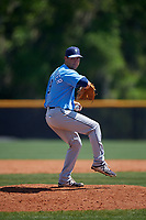 Tampa Bay Rays pitcher Michael Plassmeyer (19) during a Minor League Spring Training game against the Boston Red Sox on March 25, 2019 at the Charlotte County Sports Complex in Port Charlotte, Florida.  (Mike Janes/Four Seam Images)