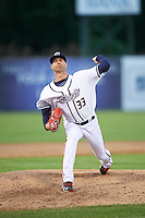 Syracuse Chiefs relief pitcher Bryan Harper (33) during a game against the Louisville Bats on June 6, 2016 at NBT Bank Stadium in Syracuse, New York.  Syracuse defeated Louisville 3-1.  (Mike Janes/Four Seam Images)