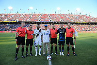 Stanford, CA - Saturday June 30, 2018: Chris Wondolowski, referees, Ashley Cole prior to a Major League Soccer (MLS) match between the San Jose Earthquakes and the LA Galaxy at Stanford Stadium.