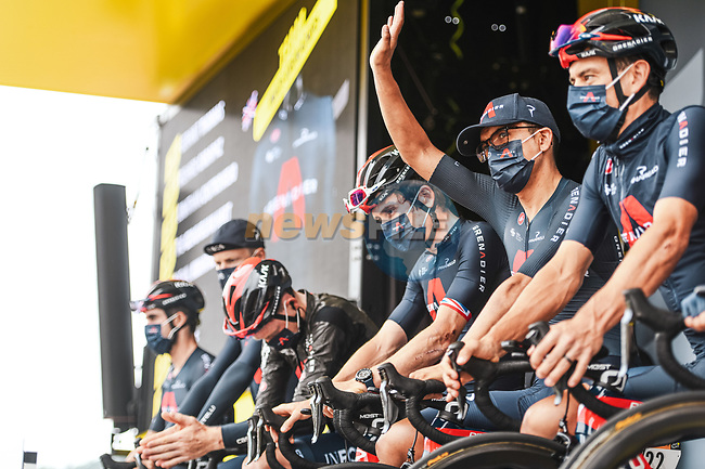 Ineos Grenadiers at sign on before the start of Stage 8 of the 2021 Tour de France, running 150.8km from Oyonnax to Le Grand-Bornand, France. 3rd July 2021.  <br /> Picture: A.S.O./Charly Lopez | Cyclefile<br /> <br /> All photos usage must carry mandatory copyright credit (© Cyclefile | A.S.O./Charly Lopez)
