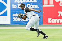 Right fielder Kenny Gilbert #26 of the Kannapolis Intimidators on defense against the Hagerstown Suns at Fieldcrest Cannon Stadium on May 30, 2011 in Kannapolis, North Carolina.   Photo by Brian Westerholt / Four Seam Images