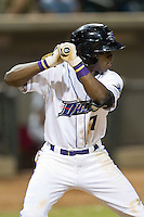 Tim Anderson (7) of the Winston-Salem Dash at bat against the Carolina Mudcats at BB&T Ballpark on June 6, 2014 in Winston-Salem, North Carolina.  The Mudcats defeated the Dash 3-1.  (Brian Westerholt/Four Seam Images)