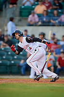 Arkansas Travelers second baseman Jeff Kobernus (4) starts down the first base line during a game against the Midland RockHounds on May 25, 2017 at Dickey-Stephens Park in Little Rock, Arkansas.  Midland defeated Arkansas 8-1.  (Mike Janes/Four Seam Images)