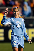 North Carolina Tar Heels defender Kristi Eveland (32) during player introductions. The North Carolina Tar Heels defeated the Notre Dame Fighting Irish 2-1 during the finals of the NCAA Women's College Cup at Wakemed Soccer Park in Cary, NC, on December 7, 2008. Photo by Howard C. Smith/isiphotos.com