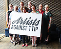 """London, UK. 02.07.2015. """"Artists Against TTIP"""" launches at the Young Vic Theatre. Artists Against TTIP was born out of a conversation between director Carrie Cracknell and her brother Jon Cracknell who works on environmental issues. Set up in collaboration with John Hilary from War on Want and Nick Dearden and Polly Jones from Global Justice Now, it has been created to raise awareness of the Transatlantic Trade and Investment Partnership (TTIP).<br /> <br /> Artists Against TTIP is supported by: Dominic Cooke, Lily Cole, Vicky Featherstone, Alison Goldfrapp, Henry Goodman, Roger Graef, Will Gregory, Jeremy Hardy, David Lan, Anna Maxwell Martin, Helen McCrory, Tobias Menzies, Hattie Morahan, Bill Paterson, Nick Payne, Ben Power, Mark Rylance, Andrew Scott, Yusuf/Cat Stevens, Juliet Stevenson, Harriet Walter, Natasha Walter, Sam West, Vivienne Westwood, and Ruth Wilson. Photograph © Jane Hobson."""