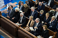 Quebec Premier Francois Legault and his wife Isabelle Brais, Lieutenant Governor Michel Doyon and his wife Pauline Theberge, former Quebec premier Daniel Johnson, Lisette Lapointe, wife of Jacques Parizeau, left to right front row, Former Quebec premier Lucien Bouchard and his wife Solange Dugas, former Quebec premier Jean Charest and his wife Michele Dionne, and former Quebec premier Pauline Marois and her husband Claude Blanchet, left to right back row, attend funeral services for former Quebec premier Bernard Landry in Montreal on Tuesday, November 13, 2018. THE CANADIAN PRESS/Paul Chiasson