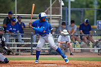 FCL Blue Jays Peniel Brito (59) bats during a game against the FCL Yankees on June 29, 2021 at the Yankees Minor League Complex in Tampa, Florida.  (Mike Janes/Four Seam Images)