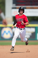 Mark Kolozsvary (4) of the Billings Mustangs hustles towards third base against the Missoula Osprey at Dehler Park on August 20, 2017 in Billings, Montana.  The Osprey defeated the Mustangs 6-4.  (Brian Westerholt/Four Seam Images)