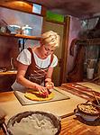 Croatia, Kvarner Gulf, Rab Island, Rab (Town): production of local speciality 'Rabskatorta' | Kroatien, Kvarner Bucht, Insel Rab, Rab (Stadt): Herstellung der lokalen Spezialitaet Rabskatorta (ein koestlicher Mandelkuchen) in der Altstadt