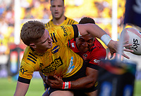 Jordie Barrett gets his pass away during the Super Rugby Aotearoa match between the Hurricanes and Crusaders at Sky Stadium in Wellington, New Zealand on Sunday, 11 April 2020. Photo: Dave Lintott / lintottphoto.co.nz